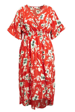 gebloemde jurk rood/ecru/mintgroen