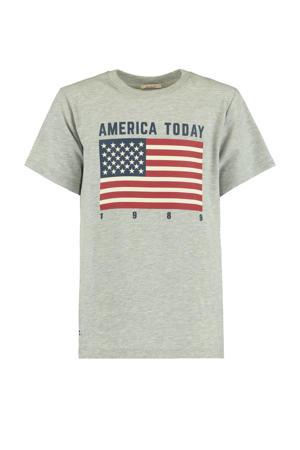 T-shirt Evan Flag met printopdruk grey melange