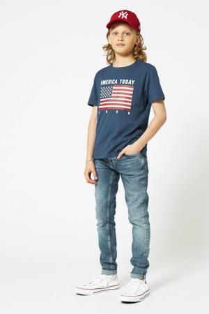T-shirt Evan Flag met printopdruk blauw
