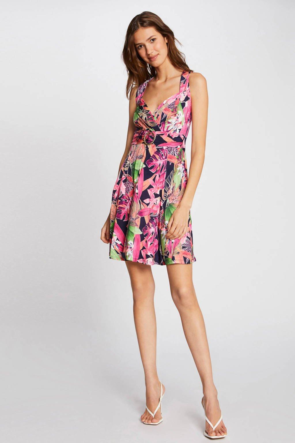 Morgan A-lijn jurk met bladprint marine/ roze, Marine/ roze