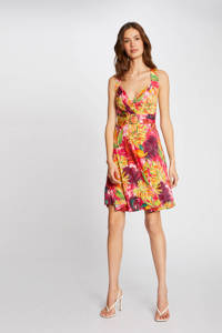 Morgan A-lijn jurk met bladprint geel/ fuchsia, Geel/ fuchsia