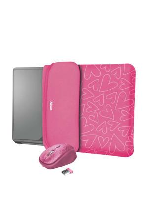 15.6 inch laptop sleeve met muis Yvo (Roze)