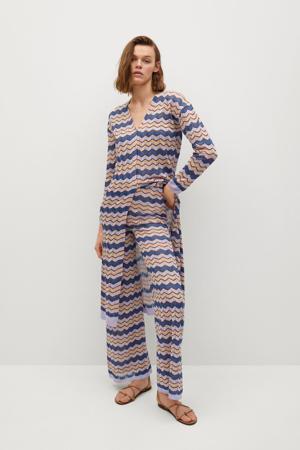 high waist flared broek met all over print lila/blauw