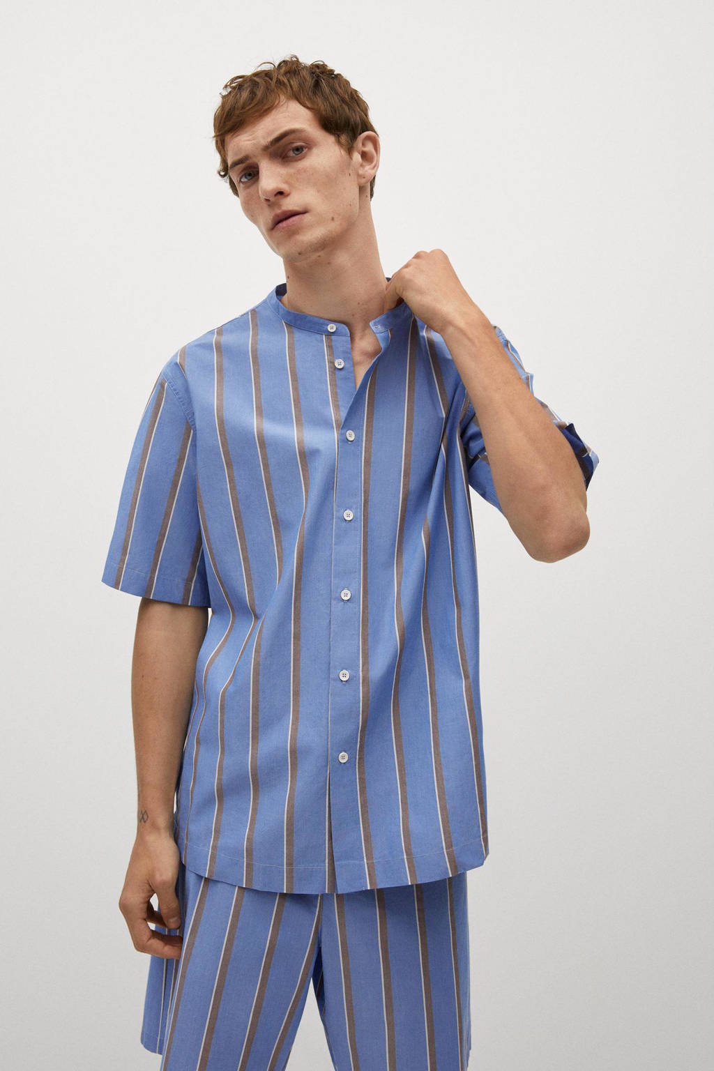 Mango Man gestreepte pyjamatop blauw, Blauw