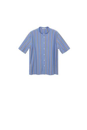 gestreepte pyjamatop blauw