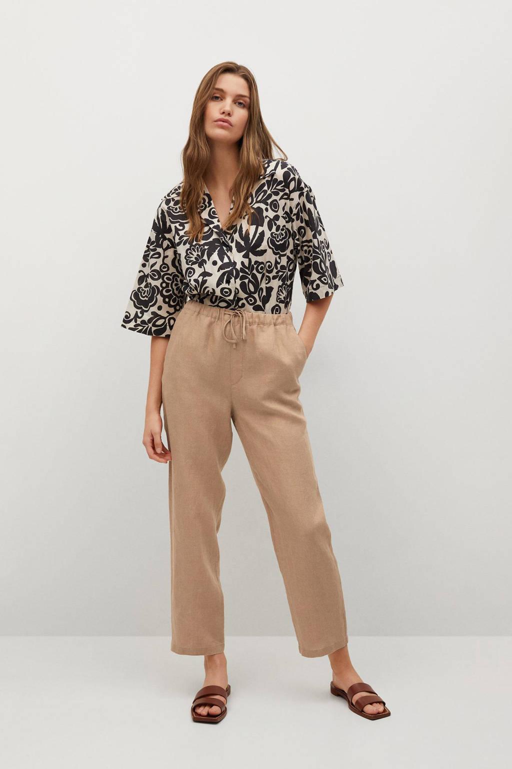 Mango high waist straight fit pantalon beige, Beige