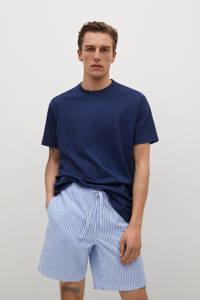 Mango Man shortama met strepen donkerblauw/lichtblauw, Donkerblauw/lichtblauw