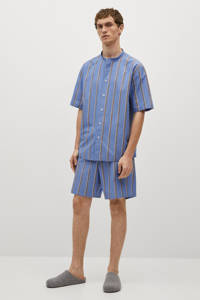 Mango Man gestreepte pyjamashort blauw, Blauw