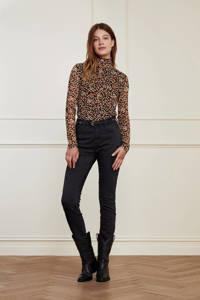 Fabienne Chapot gebloemde mesh top Jane zwart/ roze, Zwart/ roze