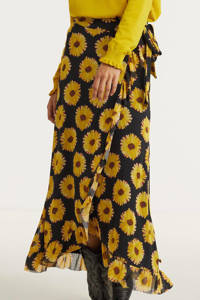 Fabienne Chapot gebloemde rok Bobo van gerecycled polyester zwart, Zwart