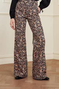 Fabienne Chapot gebloemde high waist wide leg pantalon Puck van gerecycled polyester zwart/ roze, Zwart/ roze
