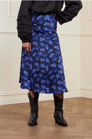 gebloemde rok Claire  van gerecycled polyester blauw