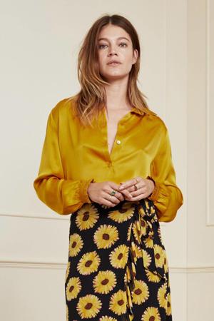 blouse Mira Boho  met ruches saffraangeel
