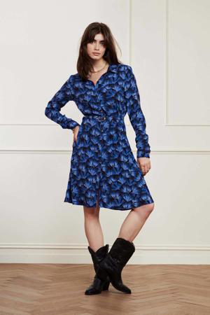gebloemde blousejurk Hayley  blauw