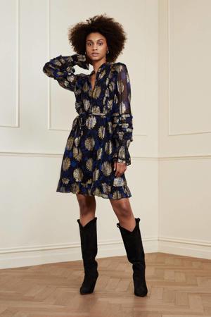 gebloemde semi-transparante jurk Leonie Festive  zwart/ kobaltblauw