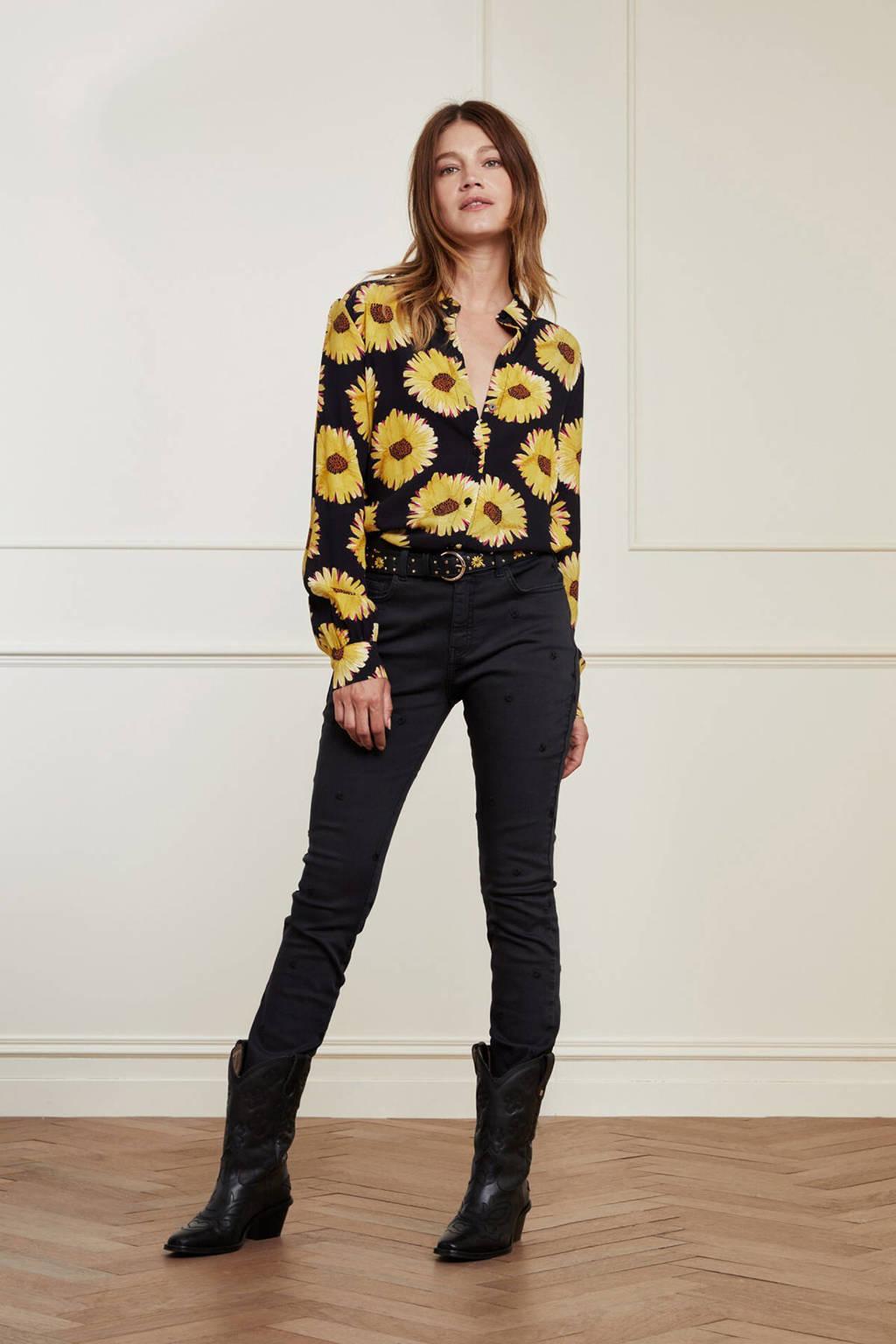 Fabienne Chapot gebloemde blouse Lot zwart, Zwart