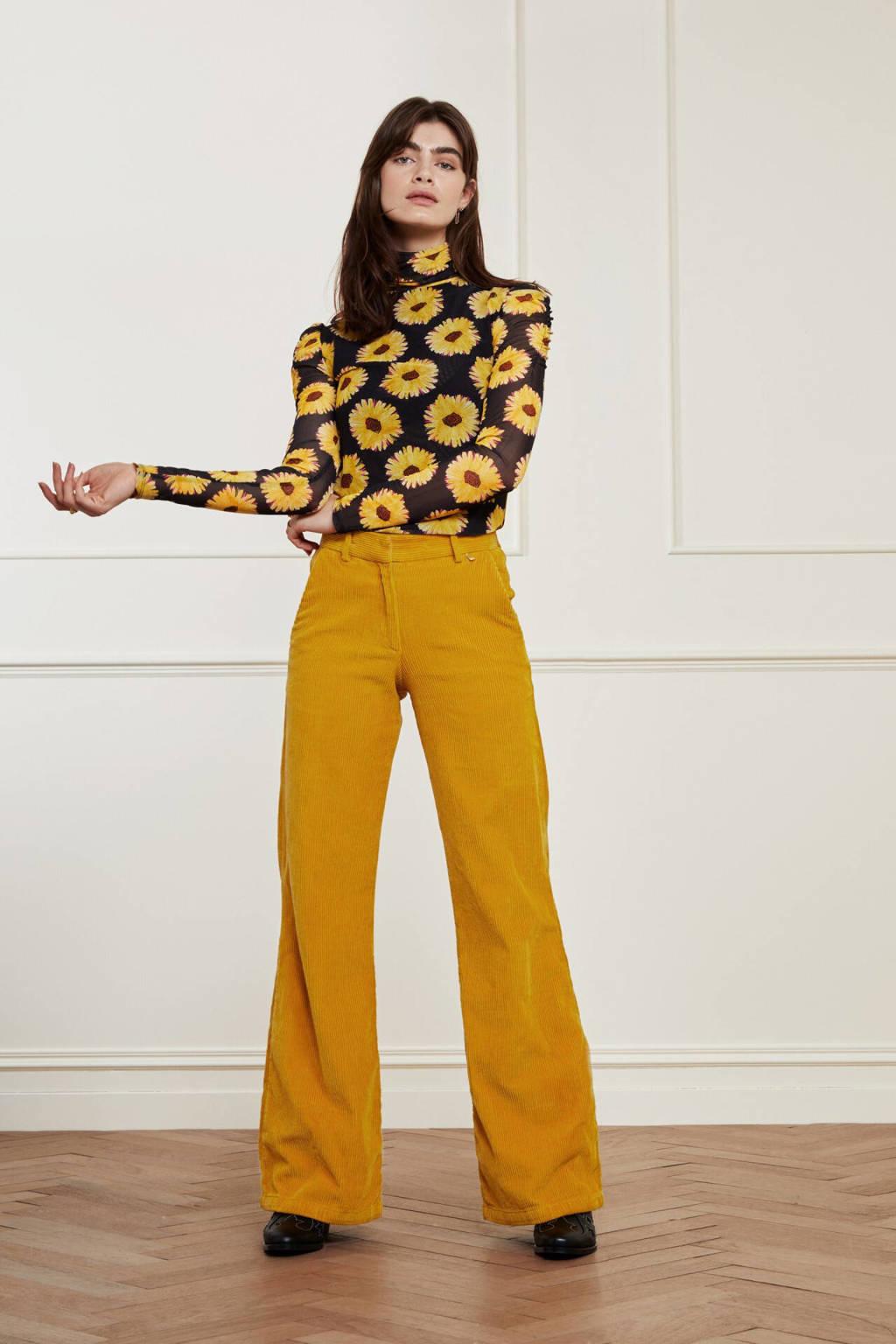 Fabienne Chapot gebloemde top Jane van gerecycled polyester zwart/ geel, Zwart/ geel