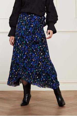 gebloemde rok Bobo van gerecycled polyester zwart/blauw