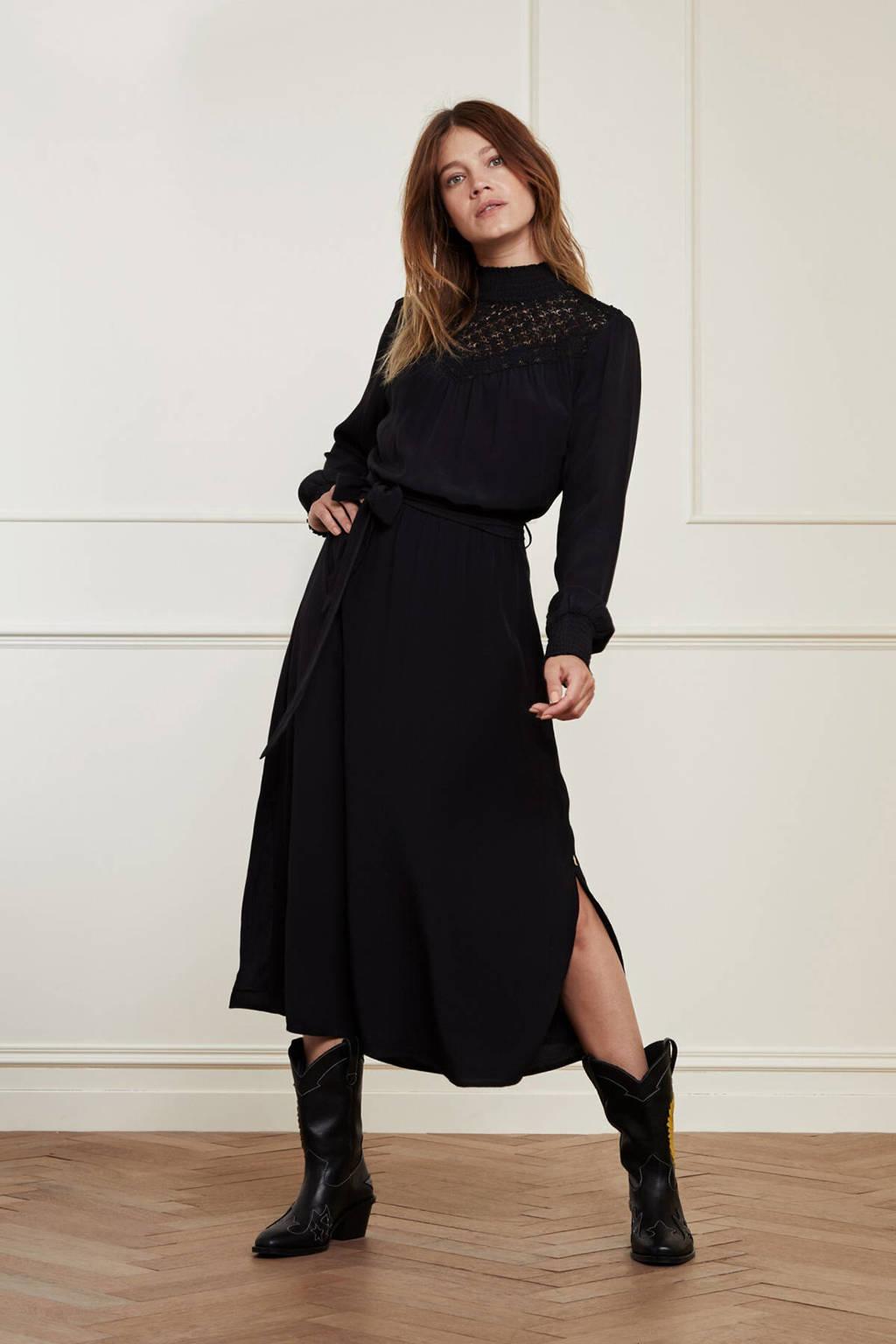 Fabienne Chapot jurk Lara  met kant zwart, Zwart