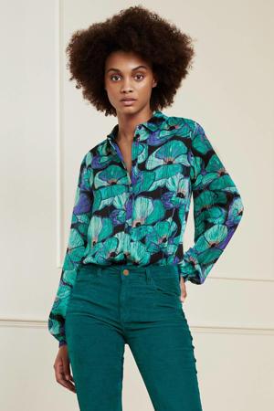 gebloemde blouse Frida  van gerecycled polyester turquoise