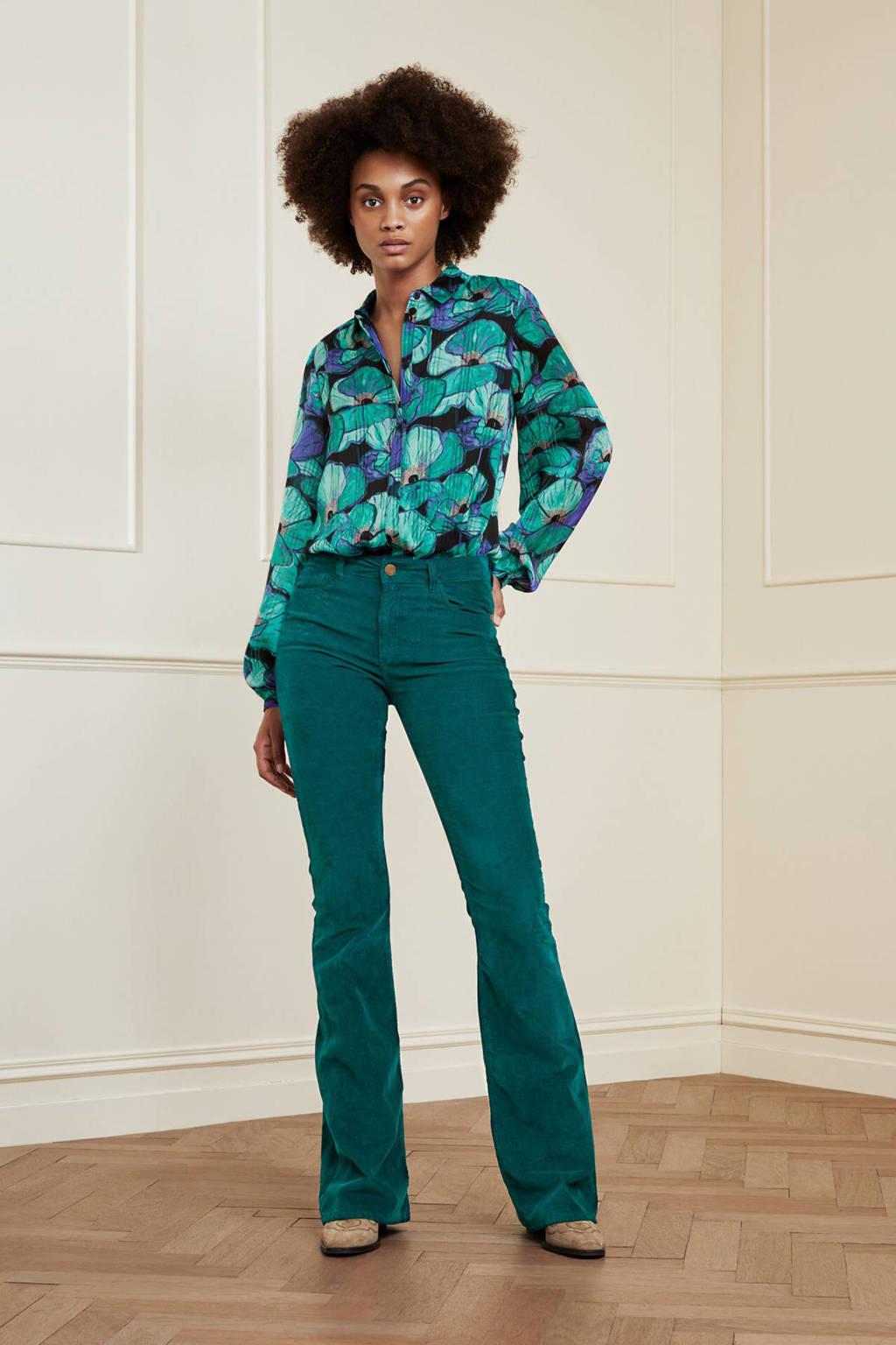 Fabienne Chapot gebloemde blouse Frida  van gerecycled polyester turquoise, Turquoise