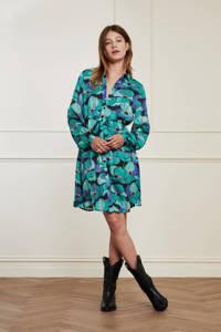 Fabienne Chapot gebloemde semi-transparante blousejurk Frida Short Dress van gerecycled polyester turquoise, Turquoise