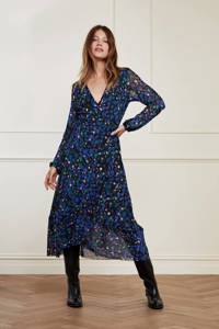 Fabienne Chapot gebloemde semi-transparante mesh wikkeljurk Natasja Frill  zwart/ blauw