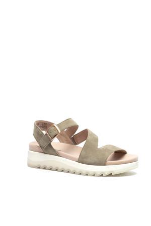 comfort suède sandalen lichtkaki