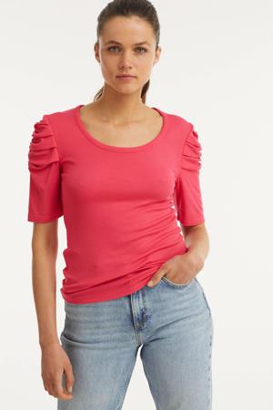 rib top met mouw detail roze