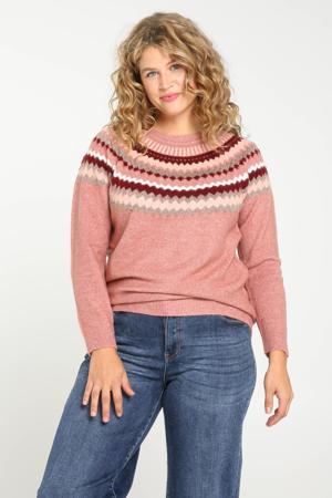 fijngebreide trui met printopdruk en glitters roze/donkerrood/lichtroze