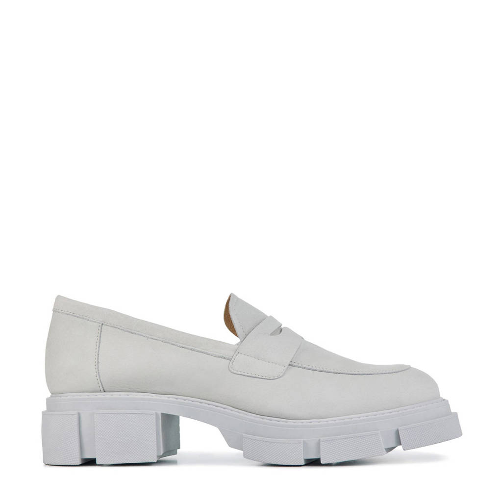 Red Rag 78138  chunky nubuck loafers off white, Wit/Off white