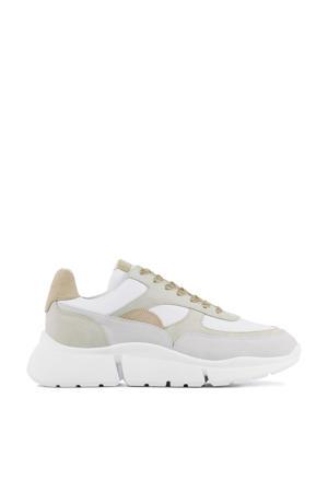 12664  suède chunky sneakers wit/beige