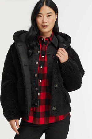 reversible teddy jas Whistle coat zwart