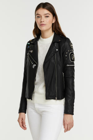jack Julia badge biker met patches zwart