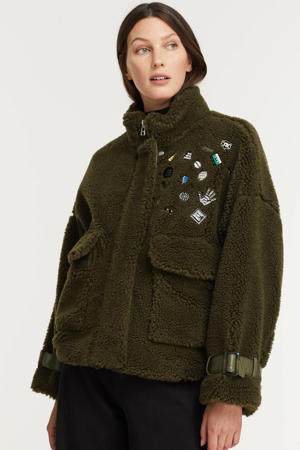 teddy jas Lola pins coat met patches donkergroen