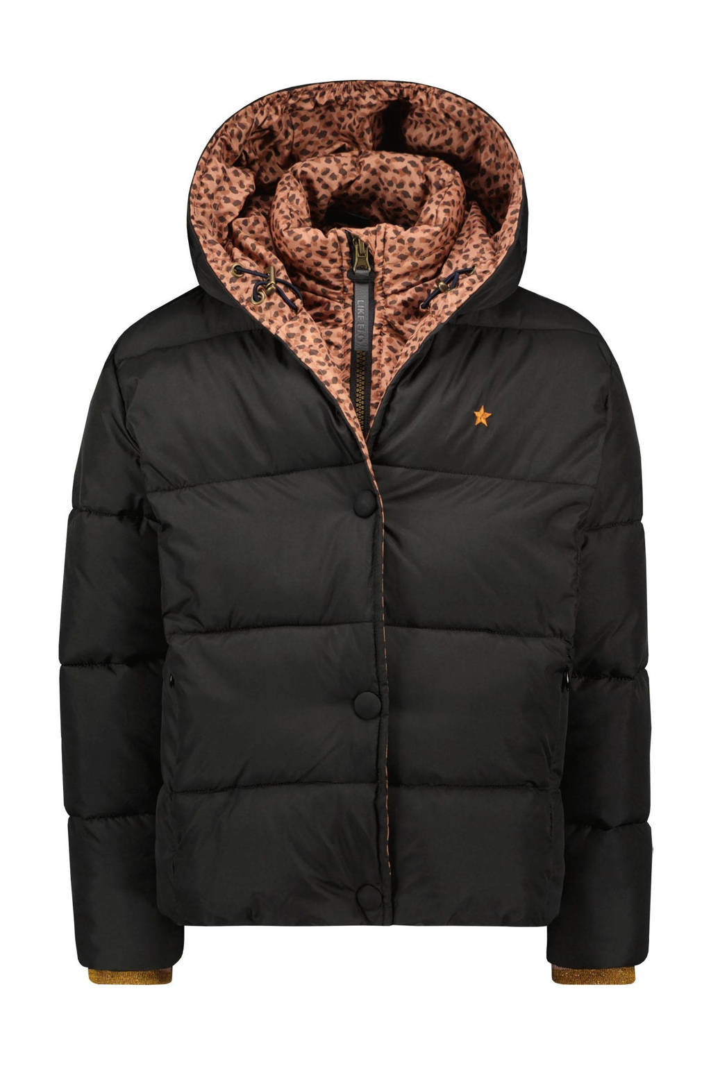 Like Flo gewatteerde winterjas zwart/bruin, Zwart/bruin