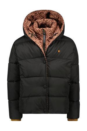 gewatteerde winterjas zwart/bruin