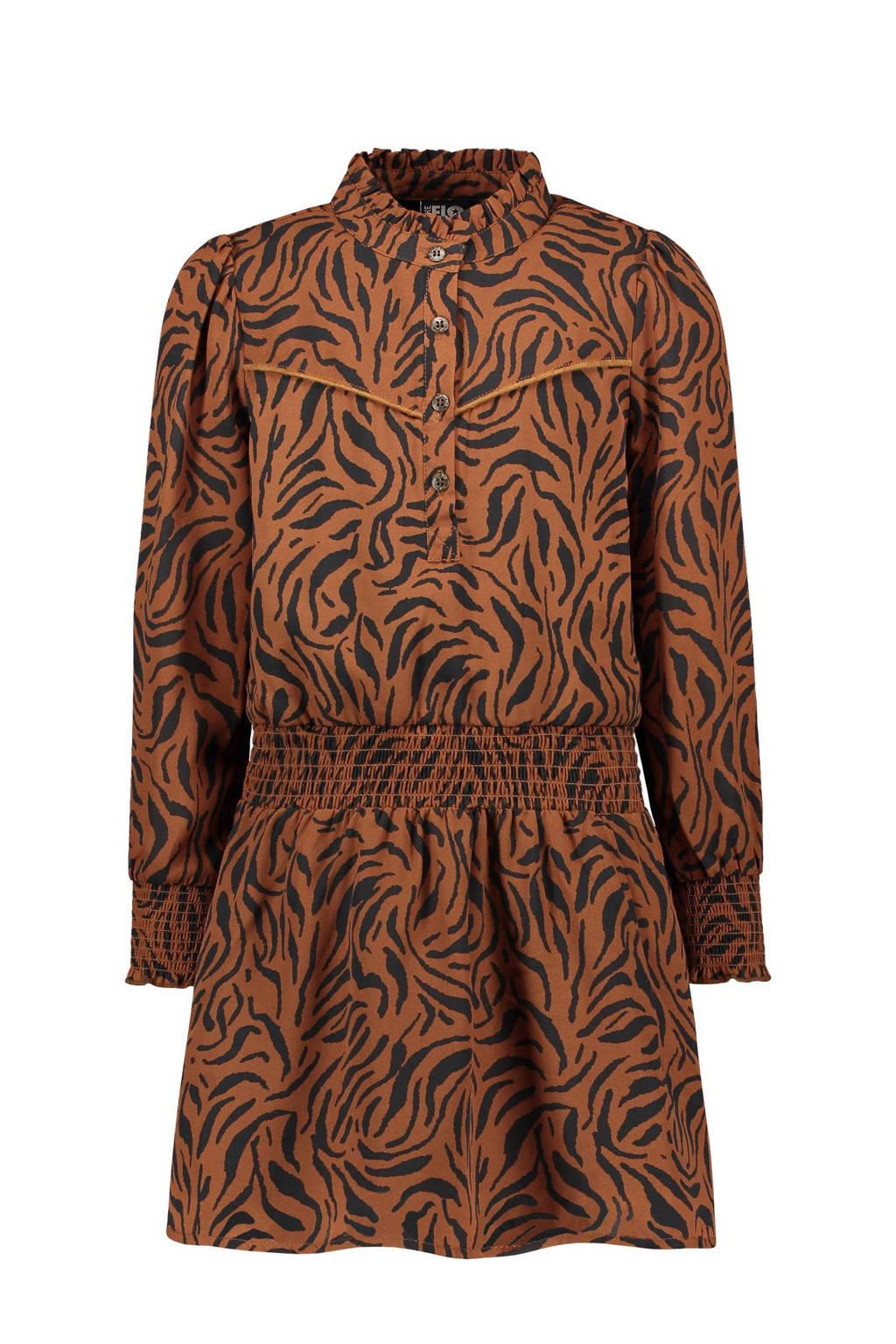 Like Flo jurk met dierenprint cognac, Cognac