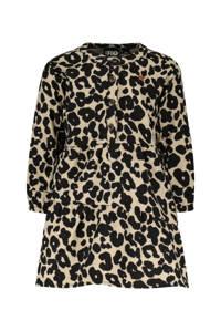 Like Flo A-lijn jurk met panterprint zand/zwart, Zand/zwart