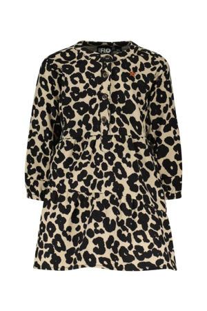 A-lijn jurk met panterprint zand/zwart