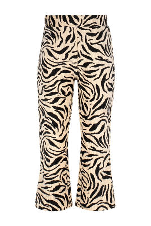 flared broek met all over print en textuur zwart/beige