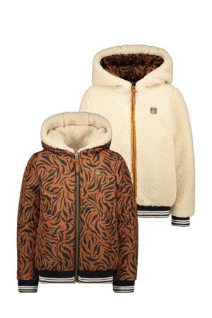 reversible gewatteerde winterjas met dierenprint cognac/offwhite
