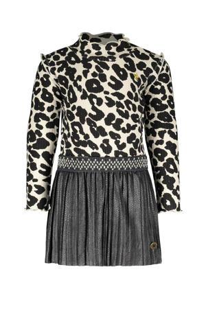 ribgebreide jurk met panterprint grijs/beige