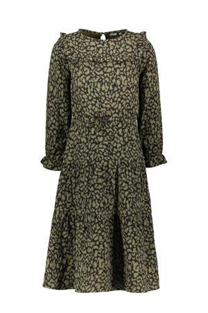 maxi A-lijn jurk met dierenprint en ruches army groen/zwart