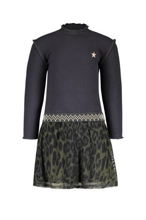 jurk met panterprint en ruches donkerblauw