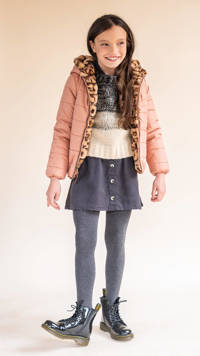 Like Flo reversible imitatiebont winterjas met panterprint oudroze/bruin, Oudroze/bruin