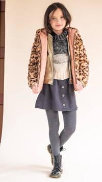 Like Flo reversible imitatiebont winterjas met dierenprint oudroze/lichtbruin, Oudroze/lichtbruin