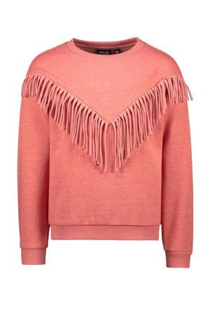 sweater met franjes koraalrood