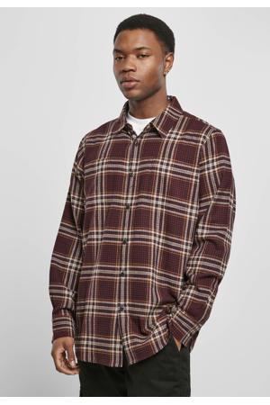 geruit regular fit overhemd cherry/honey
