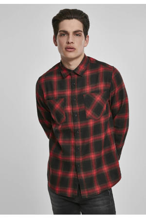 geruit regular fit overhemd black/red